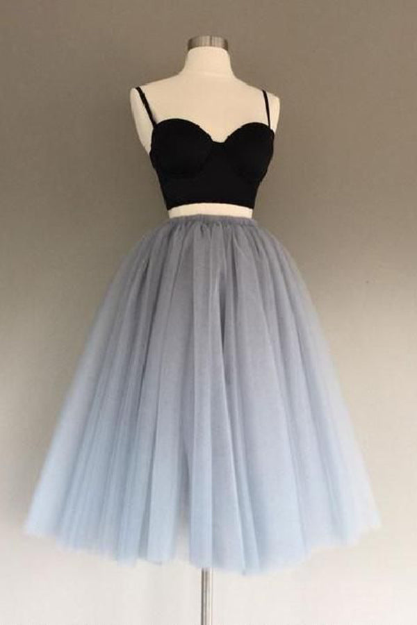 Gray Tulle Two pieces Sweetheart Short Prom Dress Homecoming Dress,PH329