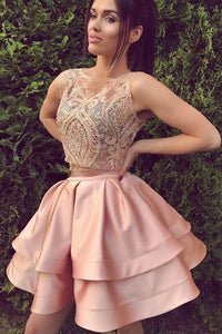 Satin Pink Two pieces Sleeveless Short Prom Dress Homecoming Dress,PH330