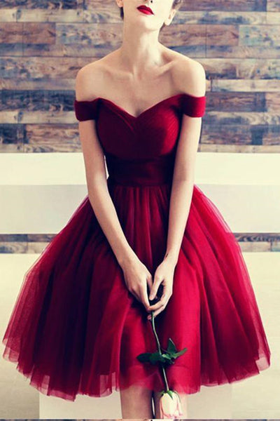 Tulle Knee Length Off Shoulder Homecoming Dresses Burgundy Short Prom Dress PH334