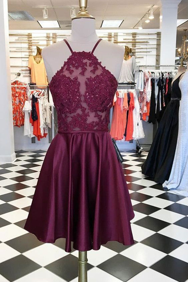Charming Burgundy Halter Short Prom Dress Homecoming Dress With Appliques PH335