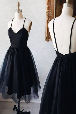 Simple A-line Black Tulle V Neck Short Prom Dress Cheap Homecoming Dress