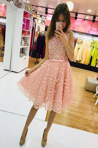 Cute Pink Round Neck Homecoming Dresses, Short Prom Dress, Evening Dress PH338