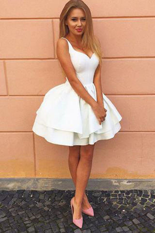 Fabulous White Satin A-Line Lace Up Back Homecoming Dress, Short Prom Dresses PH341