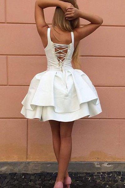Fabulous White Satin A-Line Lace Up Back Homecoming Dress, Short Prom Dresses|promnova.com