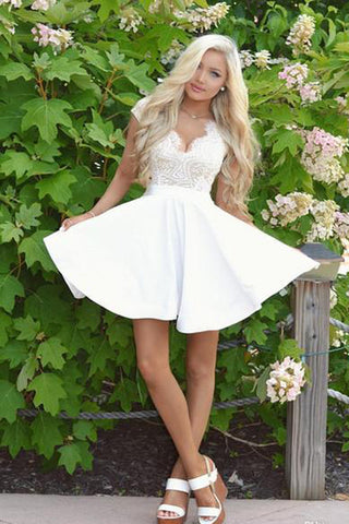 Cute White Lace A Line Cap Sleeves Short Homecoming Dress with Open Back PH342