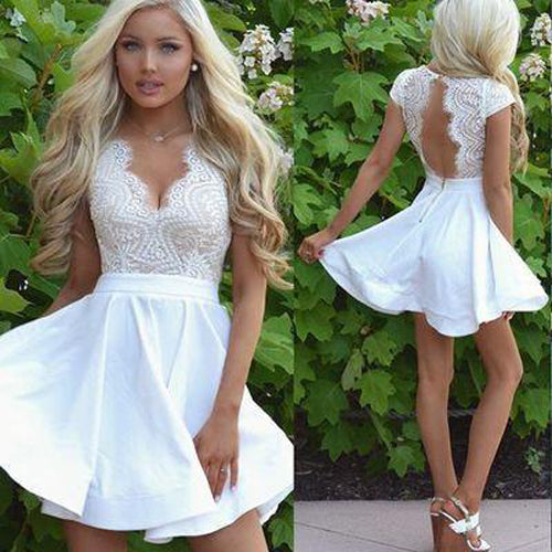 Cute White Lace A Line Cap Sleeves Short Homecoming Dress with Open Back|promnova.com