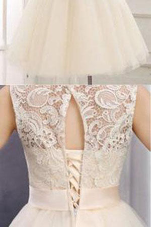 Lace Short  Scoop Ball Gown Sleeveless Bowknot Open Back Homecoming Dresses at promnova.com