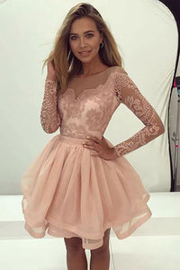 New Arrival Blush Pink Long Sleeves A-line Short Homecoming Dress, PH346