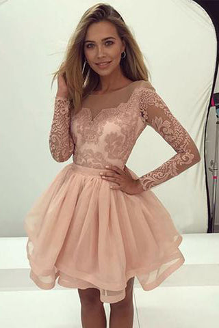 a7f3210b19f New Arrival Blush Pink Long Sleeves A-line Short Homecoming Dress, PH346