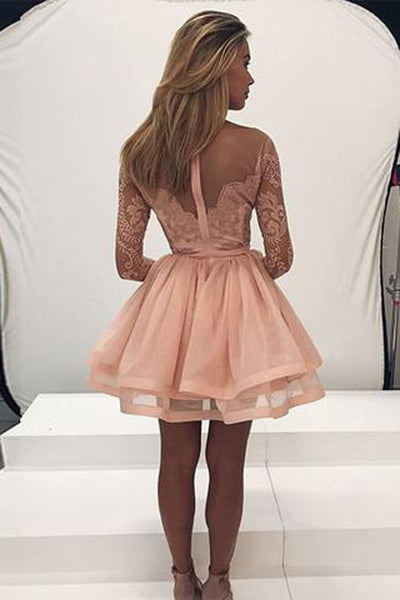 New Arrival Blush Pink Long Sleeves A-line Short Homecoming Dress at promnova.com