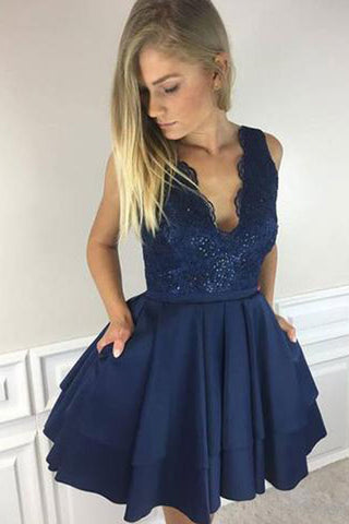 Dark BlueA line Lace V-neck Short Homecoming Dresses, Short Prom Dress, PH347