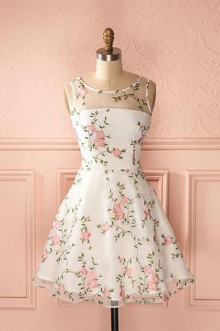 Round Neck Junior A-line Flower Short Homecoming Dresses With Appliques, PH348