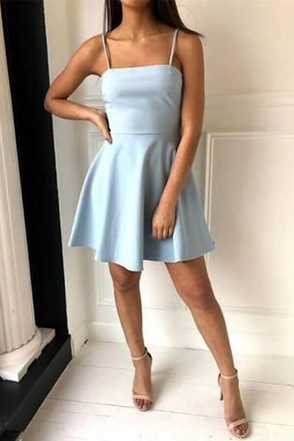 Light Blue Satin A-line Spaghetti Straps Simple Homecoming Dresses PH353 | homecoming dresses | party dresses | short prom dresses | dresses for homecoming | long sleeve homecoming dresses | short homecoming dresses | homecoming dresses short | homecoming dresses   cheap | cheap homecoming dresses | plus size homecoming dresses | Promnova