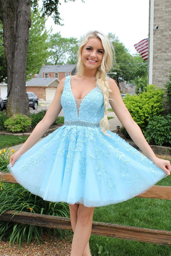 Blue Tulle Lace Beaded Open Back Short Prom Dress Homecoming Dresses PH354 | homecoming dresses | graduation dresses | short prom dresses | sweet 16 | dresses for homecoming | long sleeve homecoming dresses | short homecoming dresses | homecoming dresses short | homecoming dresses cheap | cheap homecoming dresses | plus size homecoming dresses | Promnova