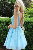 Blue Tulle Lace Beaded Open Back Short Prom Dress Homecoming Dresses with Appliques PH354 | homecoming dresses | graduation dresses | short prom dresses | sweet 16 | dresses for homecoming | long sleeve homecoming dresses | short homecoming dresses | homecoming dresses short | homecoming dresses cheap | cheap homecoming dresses | plus size homecoming dresses | Promnova