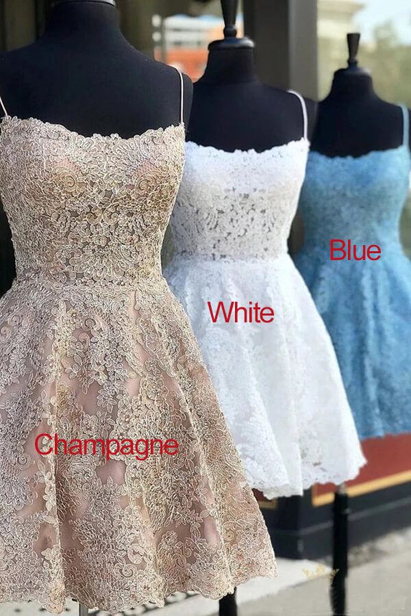 White Lace A-line Spaghetti Straps Homecoming Dress Graduation Dresses PH355 | homecoming dresses | graduation dresses | short prom dresses | sweet 16 | dresses for homecoming | long sleeve homecoming dresses | short homecoming dresses | homecoming dresses short | homecoming dresses cheap | cheap homecoming dresses | plus size homecoming dresses | Promnova