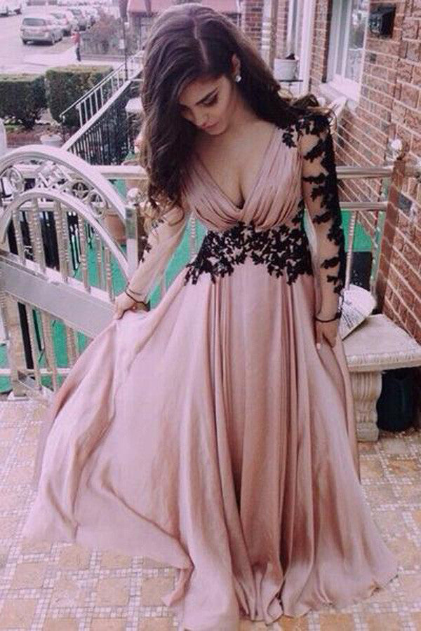 V-Neck Lace Long Sleeve Prom Dresses,Cheap Evening Dresses,Party ...