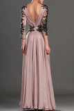 V-Neck Lace Long Sleeve Prom Dresses,Cheap Evening Dresses, PL102