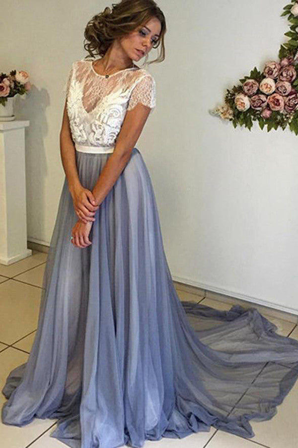 Chiffon Prom Dress with Lace Back,Scoop Neckline Cap Sleeve Prom ...