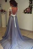 Chiffon Prom Dress with Lace Back,Scoop Neckline Cap Sleeves Prom Gowns, PL103