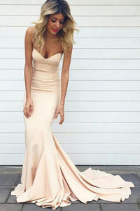 Pink Mermaid Prom Dress, Sweetheart Evening Dress with Sweep Train, PL104