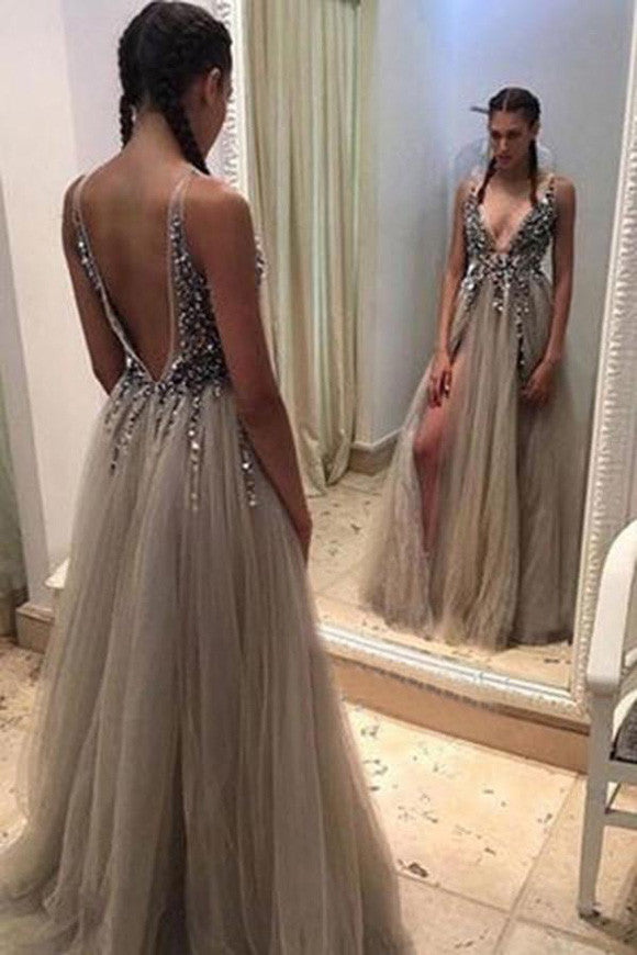 Grey Deep V-neck Open Back Split Sweep Train Prom Dress with Beading ...