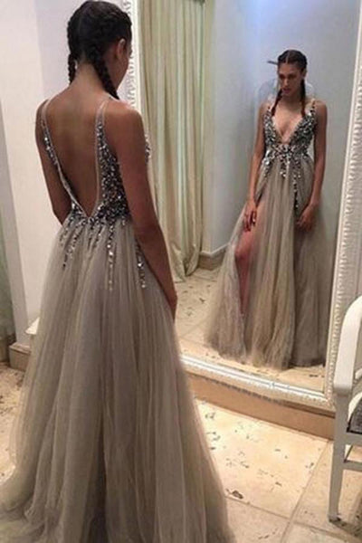 Grey Deep V-neck Open Back Split Sweep Train Prom Dress with Beading, PL105