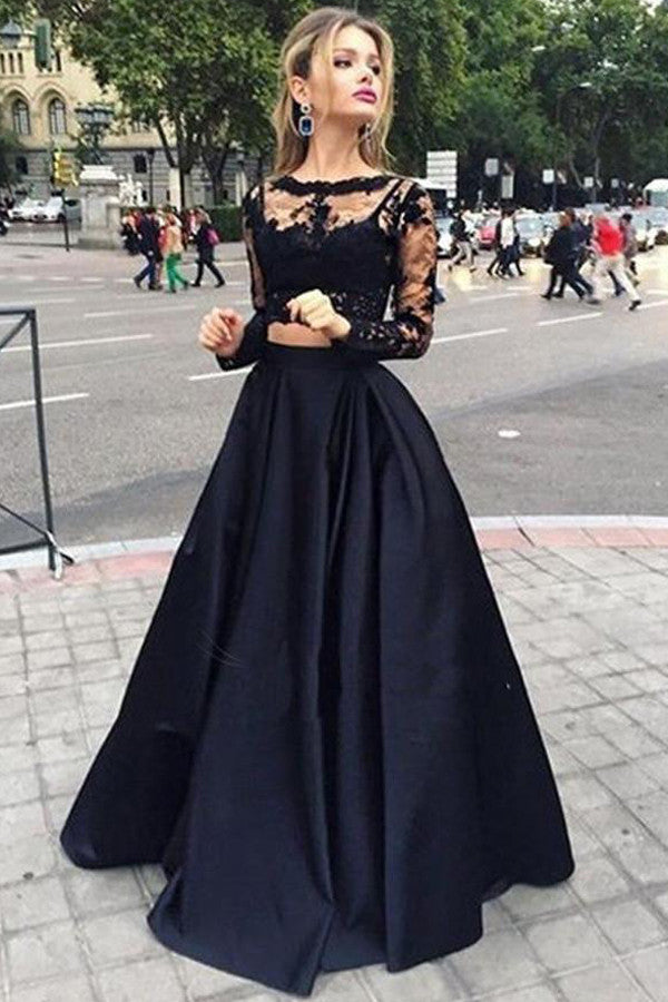 Two Piece Lace Long Sleeves Evening Dress, Black Prom Dresses, PL106