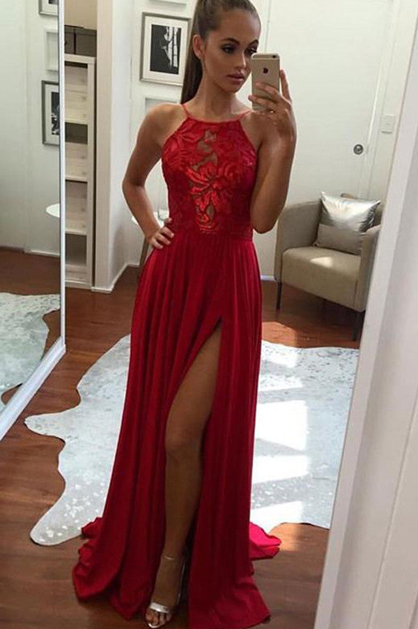 A-Line Halter Front Split Prom Dress,Chiffon Long Evening Dress, PL107