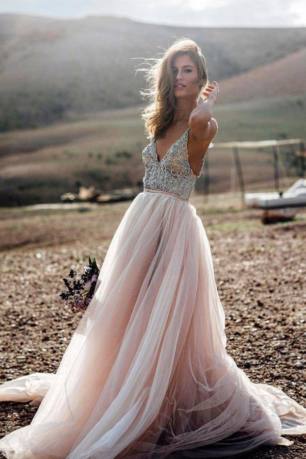 Pink A Line V- Neck Beading Sexy Beach Wedding Dress, Tulle Long Prom Dress, PL108