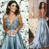 Pretty Blue Ball Gown Formal Dresses, A Line Straps V Neck Backless Prom Dress, PL109