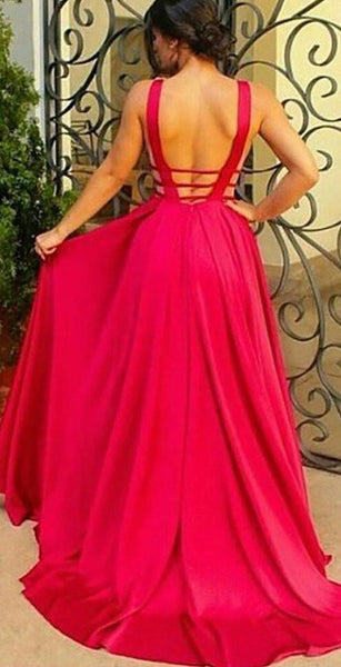 Deep V-Neck Long Evening Dress,Sexy Red A-Line Backless Prom Dresses, PL110