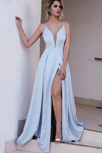 Long Sexy A Line Prom Dresses,Light Blue Spaghetti Split Evening Gowns,  PL111