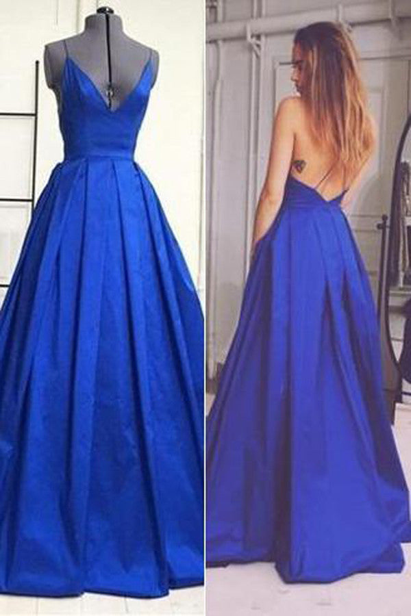 Royal Blue Simple A Line V Neck Prom Gowncheap Open Back Prom