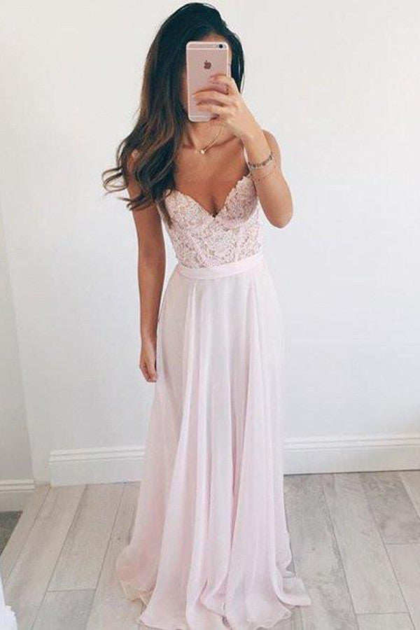 Long Chiffon V-neck Baby Pink Prom Dresses,Cute Cheap Evening Dress ...