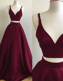 Burgundy Straps Two-Piece Prom Dresses,Puffy A-line Evening Gowns, PL114