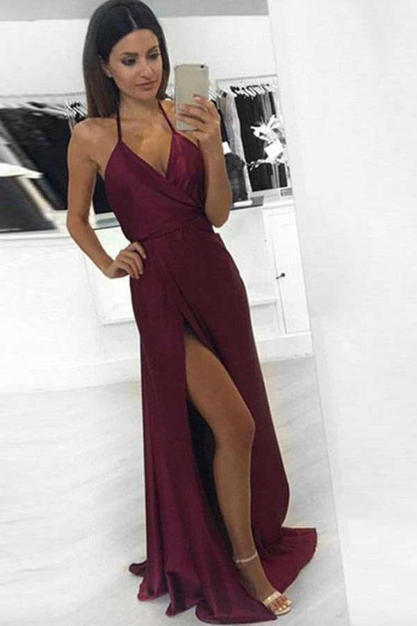 37df71956 Burgundy Sexy Halter A-line Long Prom Dress