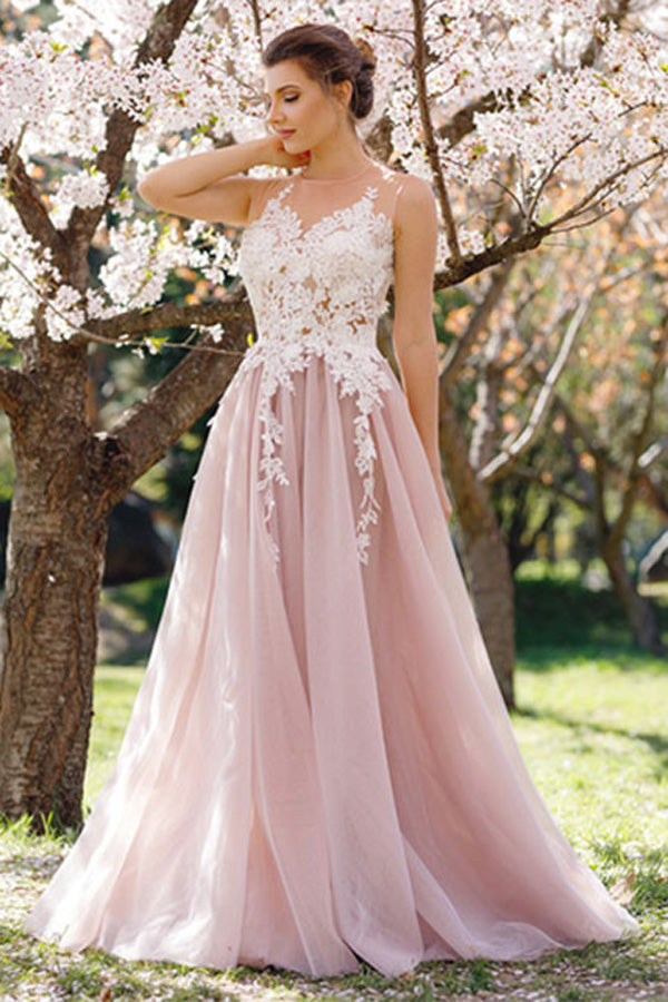 Pink Round Neck A-Line Sleeveless Tulle Prom Dress with Apliques,PL119
