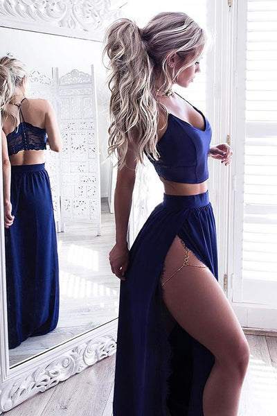 Two Piece Royal Blue V-Neck Prom Dress with Lace,Evening Dresses,PL120
