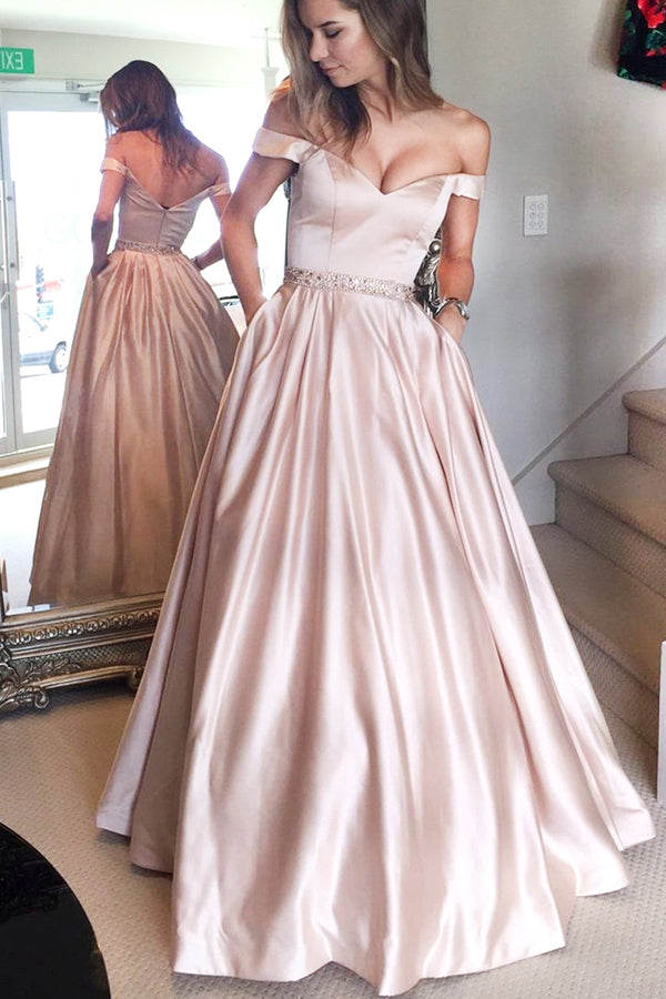 Pink Simple A-line Off the shoulder Long Prom Dress with Pocket,PL122