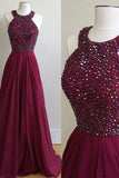 Burgundy Chiffon A-Line Halter Sweep Train Prom Dress with Beading,PL124