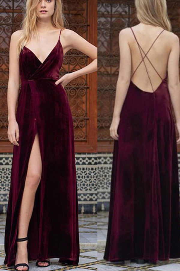 Spaghetti Straps Wine Velvet V-neck Slit long Prom Dresses,Party Dress, PL125