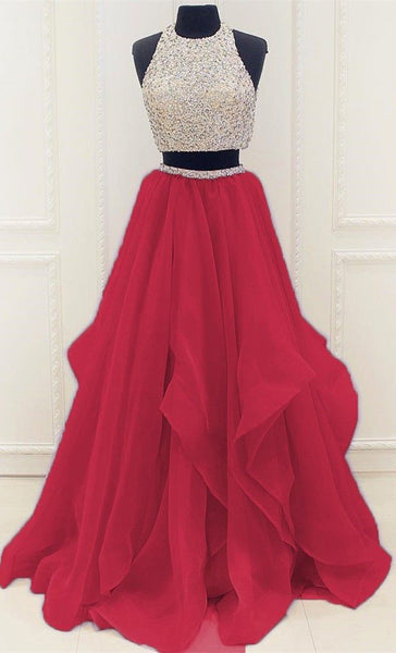 Red Two Pieces A Line Prom Dress with Beading,Fabulous Evening Dresses,PL128