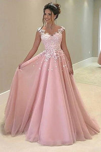 Pink Long Prom Dresses with Appliques,Evening Dress,Formal Women Dress, PL129