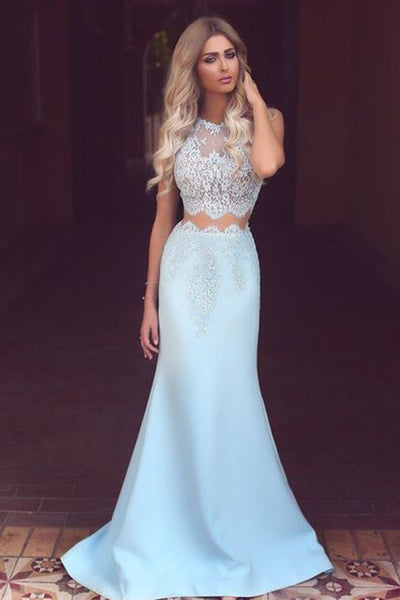 Light Blue White Lace See-Through Round Neck Mermaid Long Prom Dresses, PL130
