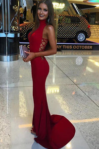 Fabulous Red High Neck Mermaid Prom Dresses,Long Party Dress, PL134