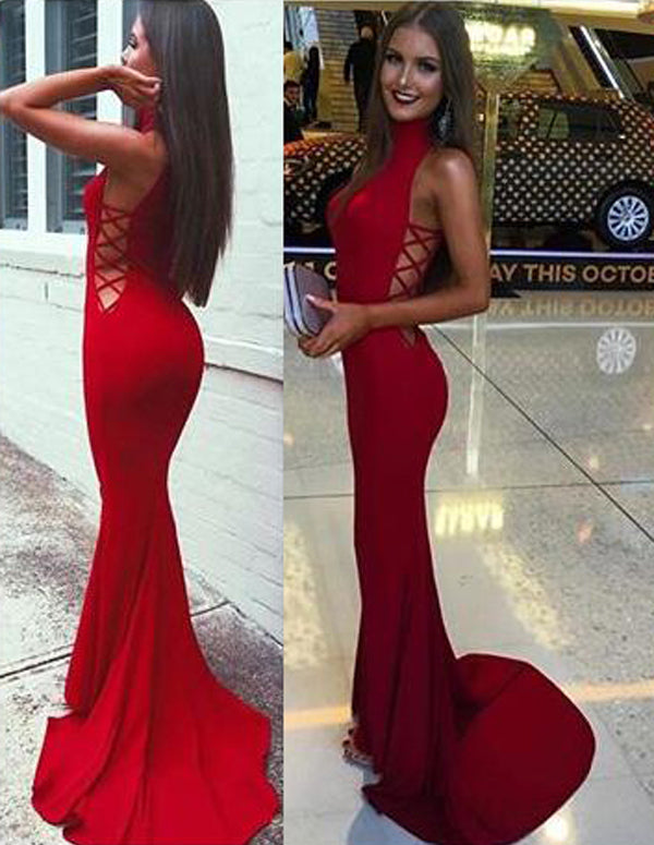 Fabulous Red High Neck Mermaid Prom Dresseslong Party Dresses