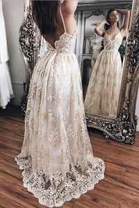 Princess V-neck Lace Backless Prom Dresses,Evening Gowns,Party Dresses,PL136