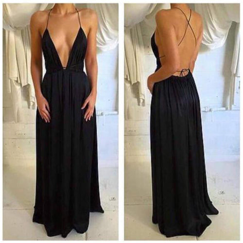 Spaghetti Straps Sexy Simple Open Back Prom Dress,Party Dress, PL140