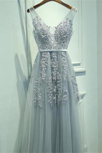 Grey Lace V Neck Tulle Long Prom Dress,Cheap Party Dresses on Line, PL141